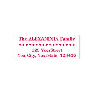 Simple Family Last Name, Address, Diamond Shapes Self-inking Stamp