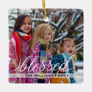 Simple Family Photo Christmas Blessed Snowflakes Ceramic Ornament
