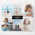"Simple Family Photo Collage & Black Monogram Mouse Pad<br><div class=""desc"">Photo mousepad where you can add eight of your own photos in a minimalist collage. At the center,  against a black background,  add your family name and initial.</div>"