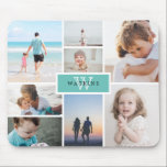 """Simple Family Photo Collage & Monogram Mouse Pad<br><div class=""""desc"""">Photo mousepad where you can add eight of your own photos in a minimalist collage. At the center,  against a robin egg blue background,  add your family name and initial.</div>"""