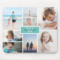 Simple Family Photo Collage & Monogram Mouse Pad
