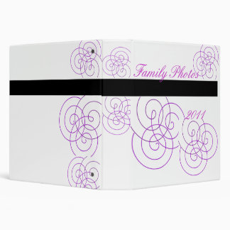 Simple Family Photos, purple spiral 3 Ring Binder