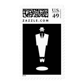 Simple fashion man black white postage stamps