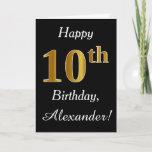 [ Thumbnail: Simple Faux Gold 10th Birthday + Custom Name Card ]