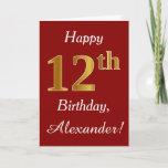 [ Thumbnail: Simple Faux Gold 12th Birthday + Custom Name Card ]