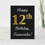 [ Thumbnail: Simple Faux Gold 12th Birthday + Custom Name Card ]