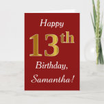 [ Thumbnail: Simple Faux Gold 13th Birthday + Custom Name Card ]