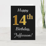 [ Thumbnail: Simple Faux Gold 14th Birthday + Custom Name Card ]