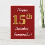 [ Thumbnail: Simple Faux Gold 15th Birthday + Custom Name Card ]