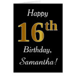[ Thumbnail: Simple Faux Gold 16th Birthday + Custom Name Card ]