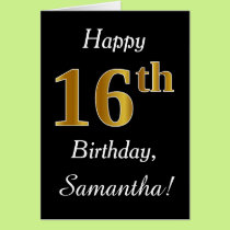 Simple Faux Gold 16th Birthday   Custom Name Card
