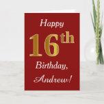 [ Thumbnail: Simple Faux Gold 16th Birthday + Custom Name Card ]