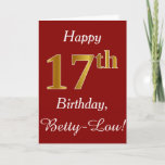 [ Thumbnail: Simple Faux Gold 17th Birthday + Custom Name Card ]