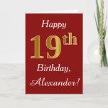 [ Thumbnail: Simple Faux Gold 19th Birthday + Custom Name Card ]