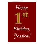 [ Thumbnail: Simple Faux Gold 1st Birthday + Custom Name Card ]