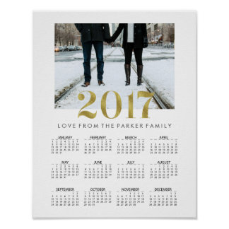 Simple Faux Gold 2017 Family Photo Calendar Poster