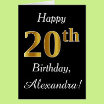 Simple Faux Gold 20th Birthday   Custom Name Card