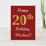 [ Thumbnail: Simple Faux Gold 20th Birthday + Custom Name Card ]