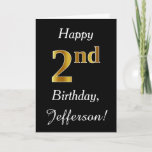 [ Thumbnail: Simple Faux Gold 2nd Birthday + Custom Name Card ]