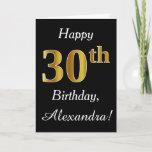 [ Thumbnail: Simple Faux Gold 30th Birthday + Custom Name Card ]