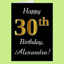 Simple Faux Gold 30th Birthday   Custom Name Card