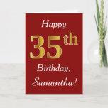 [ Thumbnail: Simple Faux Gold 35th Birthday + Custom Name Card ]