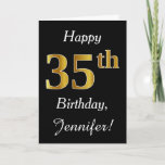 [ Thumbnail: Simple Faux Gold 35th Birthday + Custom Name Card ]