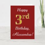 [ Thumbnail: Simple Faux Gold 3rd Birthday + Custom Name Card ]