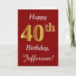 [ Thumbnail: Simple Faux Gold 40th Birthday + Custom Name Card ]