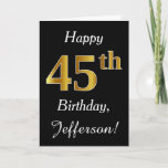 [ Thumbnail: Simple Faux Gold 45th Birthday + Custom Name Card ]