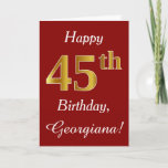 [ Thumbnail: Simple Faux Gold 45th Birthday + Custom Name Card ]