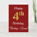 [ Thumbnail: Simple Faux Gold 4th Birthday + Custom Name Card ]