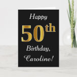 [ Thumbnail: Simple Faux Gold 50th Birthday + Custom Name Card ]
