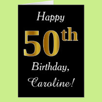 Simple Faux Gold 50th Birthday   Custom Name Card