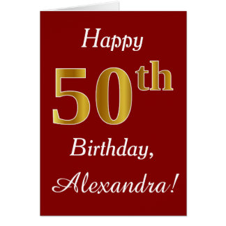 Simple Faux Gold 50th Birthday + Custom Name Card