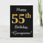 [ Thumbnail: Simple Faux Gold 55th Birthday + Custom Name Card ]