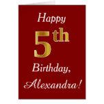 [ Thumbnail: Simple Faux Gold 5th Birthday + Custom Name Card ]