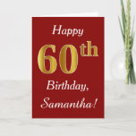 [ Thumbnail: Simple Faux Gold 60th Birthday + Custom Name Card ]