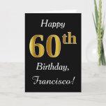 [ Thumbnail: Simple Faux Gold 60th Birthday + Custom Name Card ]
