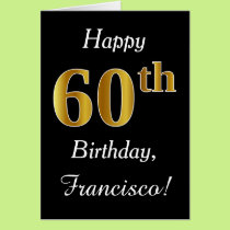 Simple Faux Gold 60th Birthday   Custom Name Card