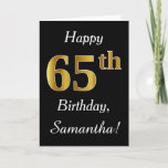 [ Thumbnail: Simple Faux Gold 65th Birthday + Custom Name Card ]