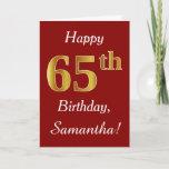 [ Thumbnail: Simple Faux Gold 65th Birthday + Custom Name Card ]