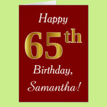 Simple Faux Gold 65th Birthday   Custom Name Card
