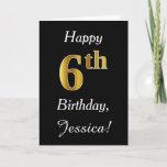 [ Thumbnail: Simple Faux Gold 6th Birthday + Custom Name Card ]