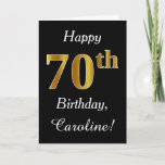[ Thumbnail: Simple Faux Gold 70th Birthday + Custom Name Card ]