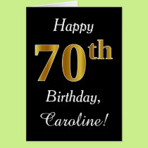 Simple Faux Gold 70th Birthday   Custom Name Card