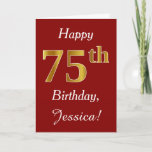 [ Thumbnail: Simple Faux Gold 75th Birthday + Custom Name Card ]