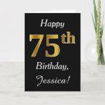 [ Thumbnail: Simple Faux Gold 75th Birthday + Custom Name Card ]