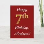 [ Thumbnail: Simple Faux Gold 7th Birthday + Custom Name Card ]