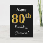 [ Thumbnail: Simple Faux Gold 80th Birthday + Custom Name Card ]